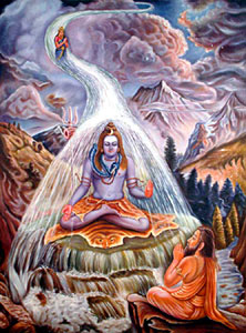Ganges descended to the Earth through the lock of hair (Jata) of god Shiva to make whole earth pious, fertile and wash out the sins of humans