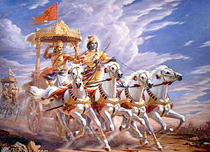 Lord Krishna and Arjun in Kurukshetra war