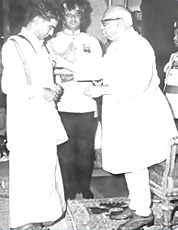 Receiving Padmshri Award from H.E.V.V. Giri in 1972