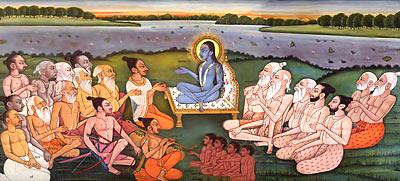 Shukdevji narrating Bhavat Puran to Parikshit