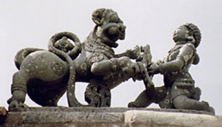 Sala fighting with Tiger, symbol of Hoysala Empire - Basaralu