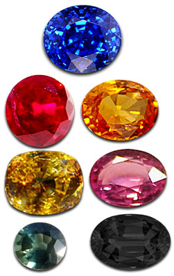 Sapphire gemstones in   colours