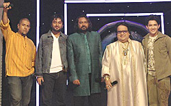 Judges and Anchor Aditya Narayan of Sa re ga ma pa - Challenge 2007