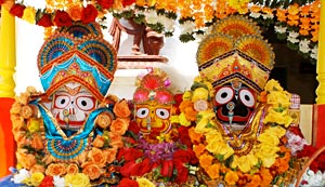 The wooden images of Lord Jagannath at Puri