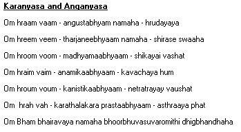 Anganyasa Karanyasa, mantras