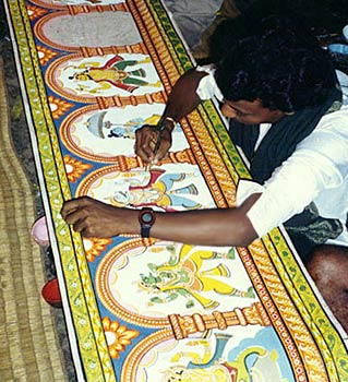 Pattachitra-painting on cloth one of the Occupation in the Villages of Orissa, Villages of India