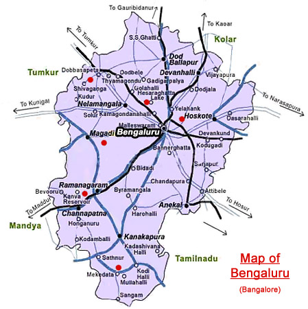 Map of Bengaluru, Karnataka