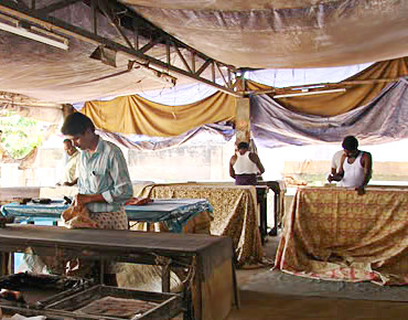 Kalamkari workers at Machilipatnam, Andhra Pradesh