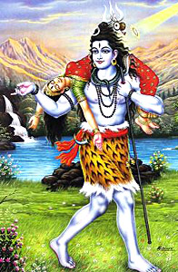 Lord Shiva placed Sati`s body on his shoulder and ran about the world, distraught with grief