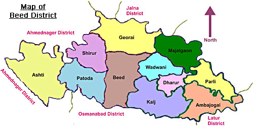 Map of Beed,Maharashtra