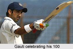 Gautam Gambhir celebrating his 100