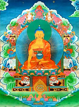 Buddha seated on the sixornament throne of Enlightenment