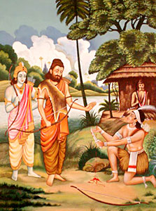 Eklavya paying guru dakshina to Dronacharya, Indian Legend