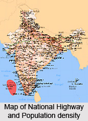 Regions of high density of Population in India