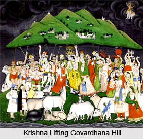 Mountain Lifting by Lord Krishna, Indian Classical Tale, Mahabharata