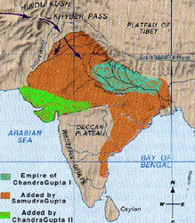 Map of gupta dynasty during Gupta King : Chandragupta II