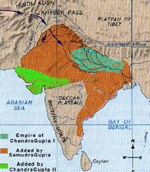 Map of gupta dynasty during Gupta King : Chandragupta II
