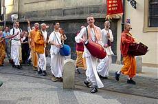 ISKCON Temple Monks chanting Hari Krishna