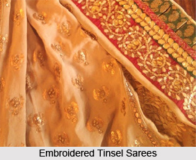 Embroidered Tinsel Sarees, Sarees of West India