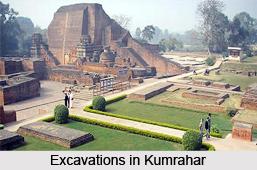Excavations in Mauryan Site, Kumrahar, Bihar