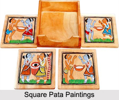 Square Pata Paintings, Folk Paintings of West Bengal
