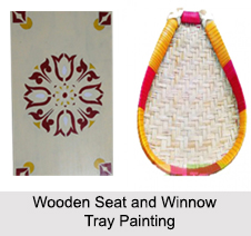 Wooden Seat and Winnow Tray Painting, Folk Paintings of West Bengal