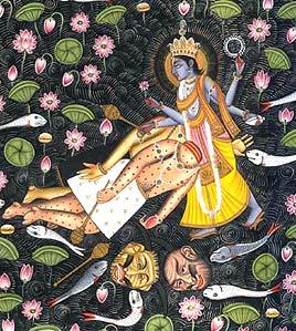 Demon Brothers Madhu-Kaitabh, killed by Lord Vishnu