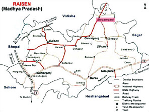 Map of Raisen District