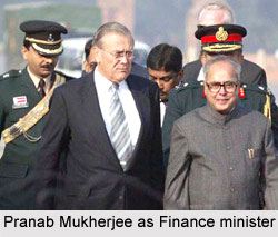 Pranab Mukherjee greets his United States counterpart Donald Rumsfeld