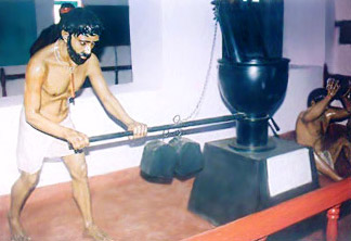 A model showing the plying of the oil mill - Manual Labour in Cellular Jail, Andaman And Nicobar Islands