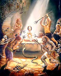 Prahlada, Son Of Hiranyakasipu attacked by poisonous snakes