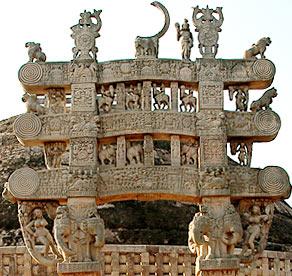 beautifully carved frieze at Sanchi Stupa