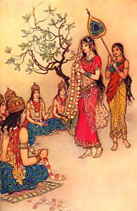 During Marriage of Damayanti, she distinguished her lover by the twinkling of his eyes whilst the gods are fixed-eyed i.e Animisha