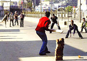 Youth Playing Cricket on Street