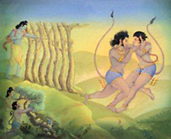 Rama kills Bali  of Kishkindha