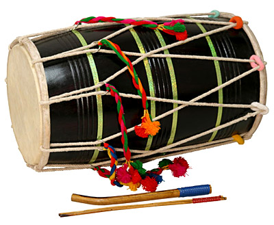 Double Sided Barrel Drum of Punjab, Percussion Musical Instrument