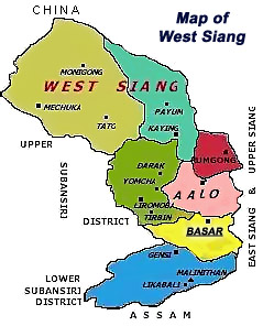 Map of West Siang district - Basar, Arunachal Pradesh
