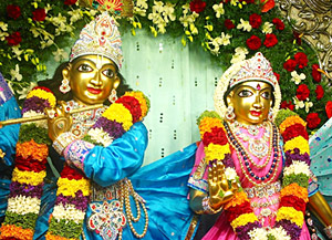 Beautiful idols of lord Krishna and Radha at Iskcon Temple, Karnataka