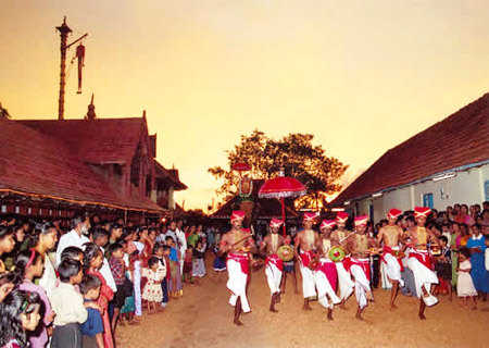 Martial dance known as Velakali is performed by Nayar Warriors in the Temple of Southern Kerala