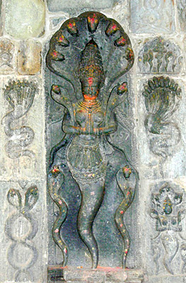 Sculpture of Nagin diety on wall at Belur