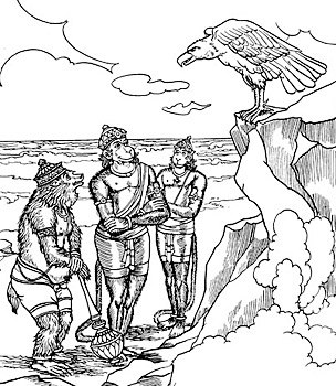 The Vulture Sampati Addresses Jambavan, Hanuman, and Angada being helpful in search of Seeta