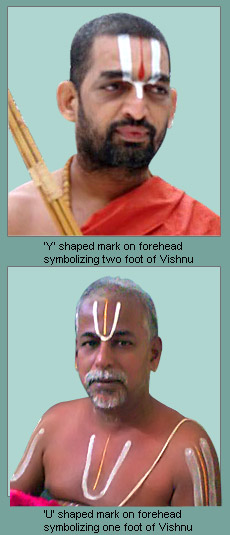 Pundra or applying on the forehead the mark in the shape of Vishnu's feet - Sacraments in Vaishnavism