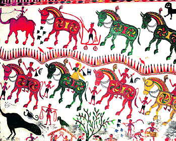 Animal and Bird Forms - Bhil Painting