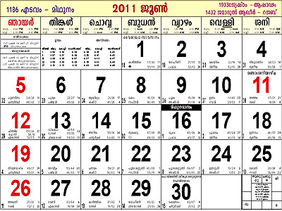 Calender of Malayalam Era