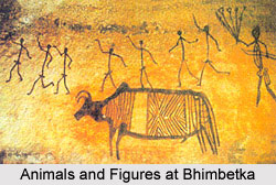 Bhimbetka - Drawing of animal with a complex decorative pattern