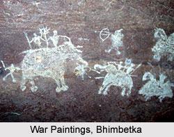 Bhimbetka - White warring scene with elephants and horses