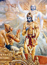 Krishna and arjuna during their discourse of the Bhagavad Gita