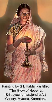 Painting by S L Haldankar titled 'The Glow of Hope' at Sri Jayachamarajendra Art Gallery, Mysore, Karnataka