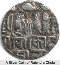 A silver coin of Rajendra Chola
