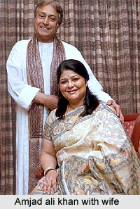 Ustad Amjad Ali Khan with wife